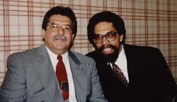 Previous Provost Alexander Gonzalez with Professor Cornell West (16kb)