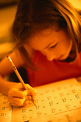 Picture of girl doing math work